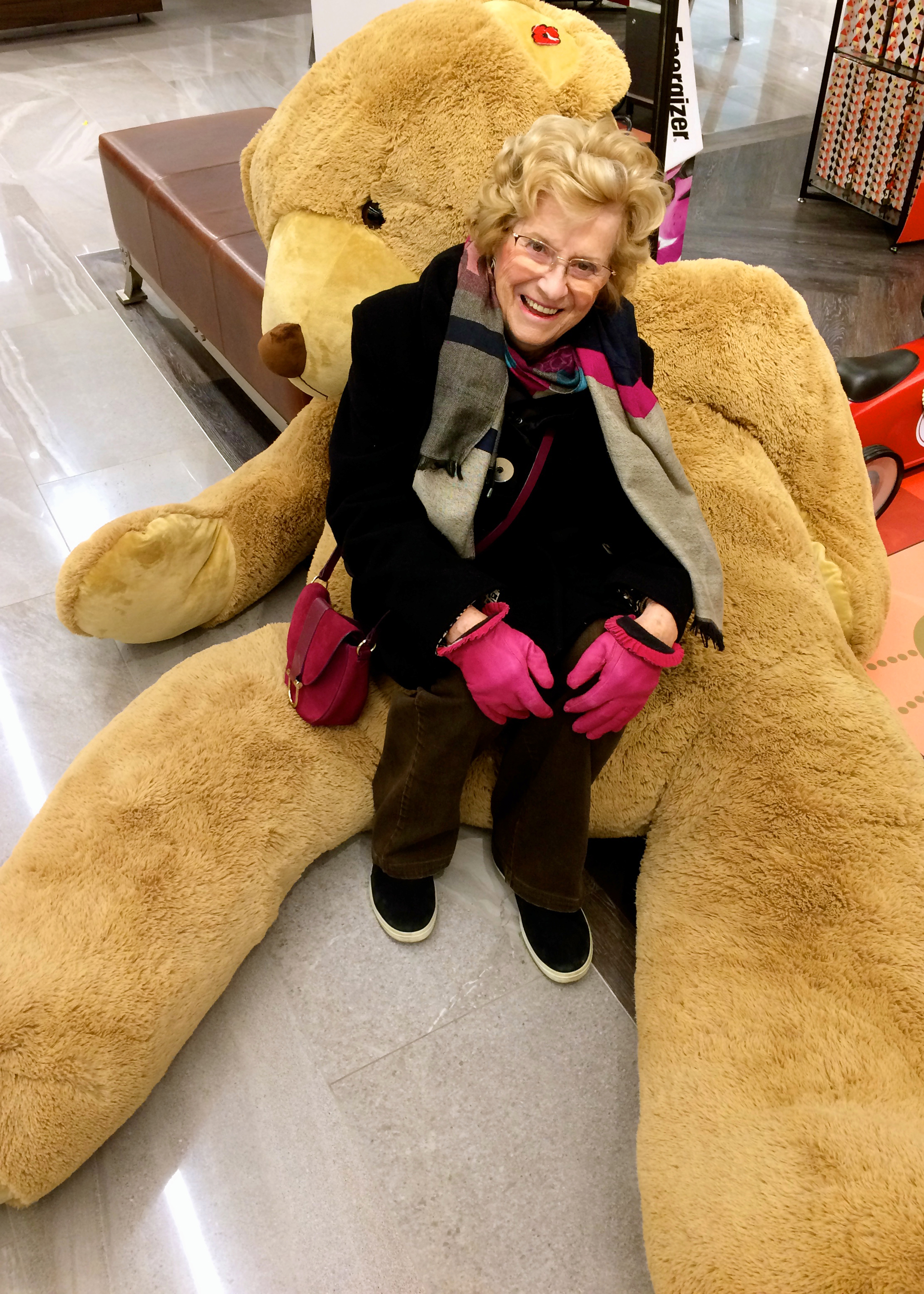 Jacqueline and big teddy bear.